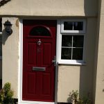 PVCu front door dark red